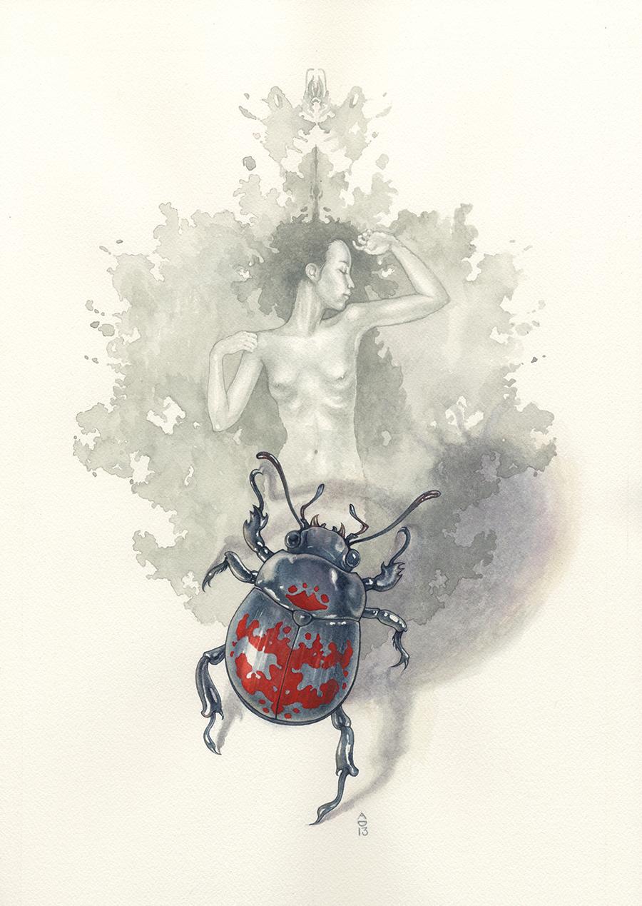 Cynosure, Wayne Allen Brenner, Minerva's Wreck, Abi Daniel, AbiDaniel, Hoarsefly, Watercolor, beetle, rorschach, ink blot