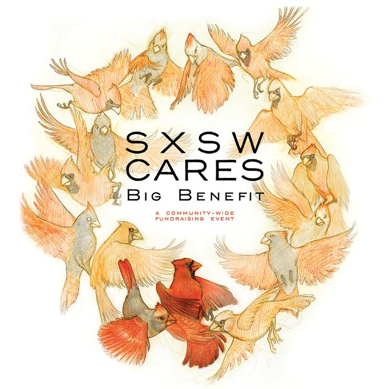 SXSW Cares, Abi Daniel, AbiDaniel, Hoarsefly, Hoarsefyart, cardinal print, cardinals