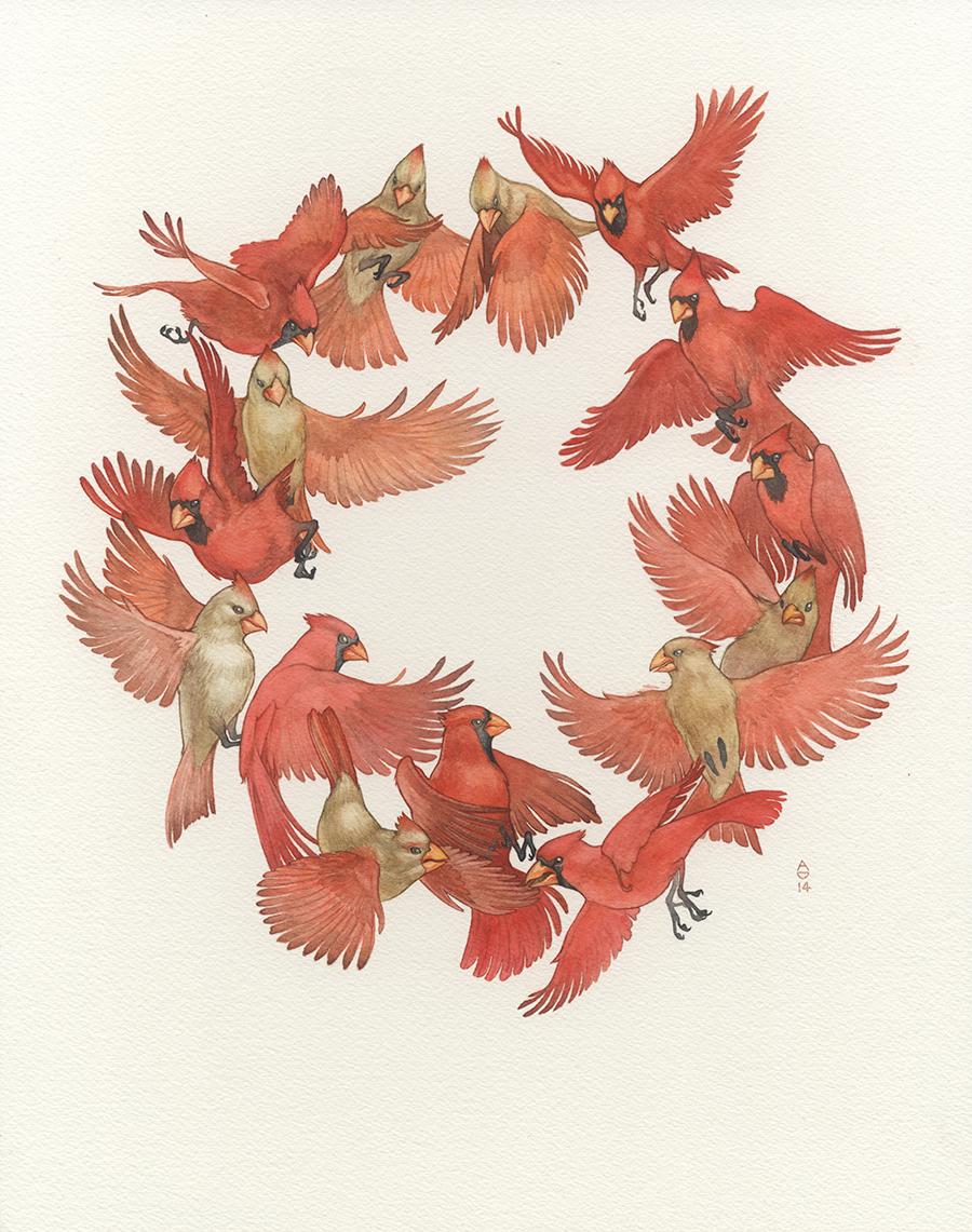 SXSW Cares, Abi Daniel, AbiDaniel, Hoarsefly, Hoarsefyart, watercolor, cardinal painting, cardinals