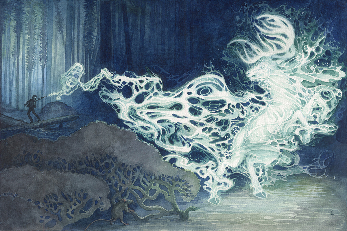 Harry Potter, HarryPotter, Patronus, Stag Patronus, Birth Movies Death, BMD, watercolor, AbiDaniel, Abi Daniel, Hoarsefly